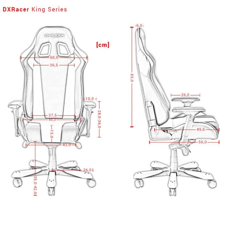 DXRacer King Series dimensions