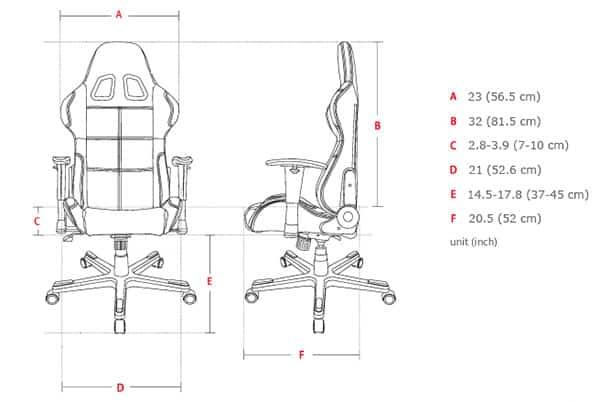 DXRacer Formula Series dimensions